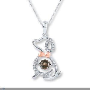 Jewelry - NWOT Dog necklace with smoky quartz stone
